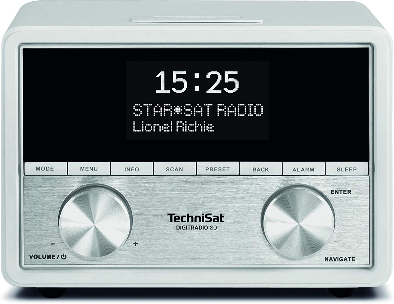 Technisat Digitradio 80 Stereo Dab Radiowecker Dab Ukw Usb Ladefunktion Kopfhöreranschluss Aux In Sleeptimer Schlummerfunktion 2 Weckzeiten 10 Watt Rms Weiß Heimkino Tv Video