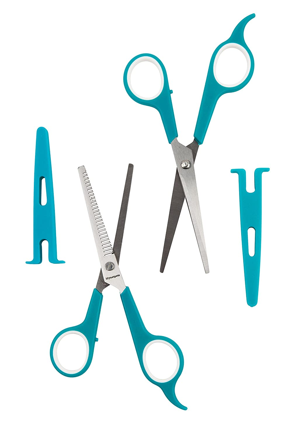 Dog and Pet Grooming Scissors. 2 pair - Thinning Shears and Straight Edge Shears Perfect for Dogs, Cats, Puppies, Kittens and Other Pets. Stainless Steel Engineered Blades with Protective Caps Fortune Metal Manufacturer