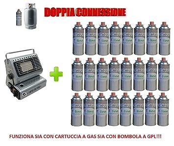 Estufa estufa a gas portátil doble conexión Sia Cartuchos de Gas Sia bombole + 24 cartucho): Amazon.es: Jardín