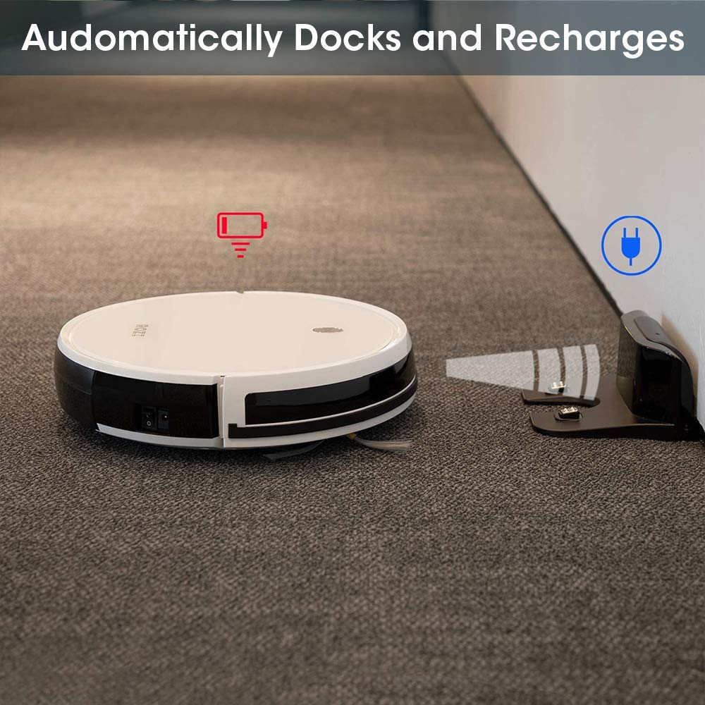 Rozi Robot Vacuum Cleaner Super Quiet 1600pa Powerful Suction, Robot Vacuum Mop with Dual Anti-collition System for Pet Hair/Hard Floors/Carpet(White)