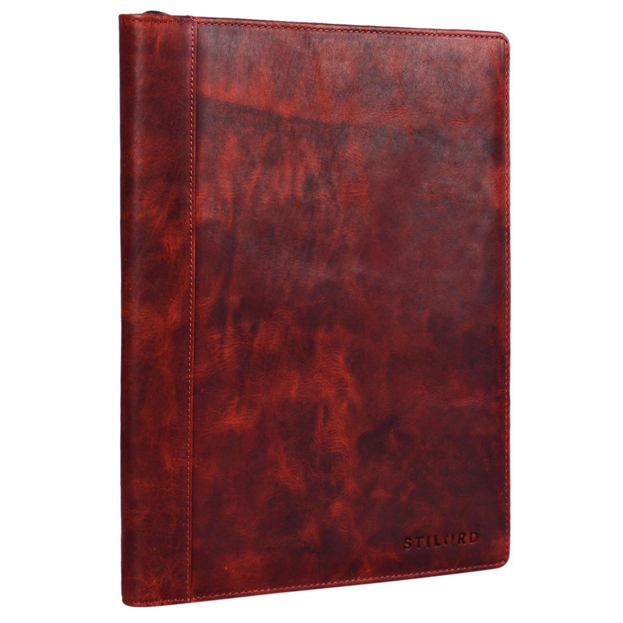STILORD 'Julius' Vintage Cartella porta Documenti e per Tablet 12 Pollici Organzier rigido Portadocumenti in vera Pelle, Colore:marrone scuro