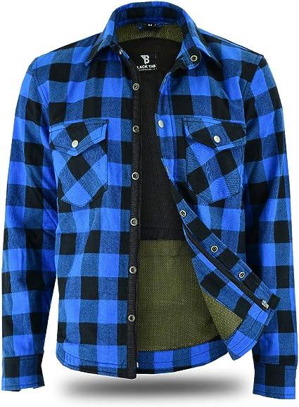 BlackTab - Camisa de moto azul totalmente reforzada con forro de Kevlar: Amazon.es: Coche y moto