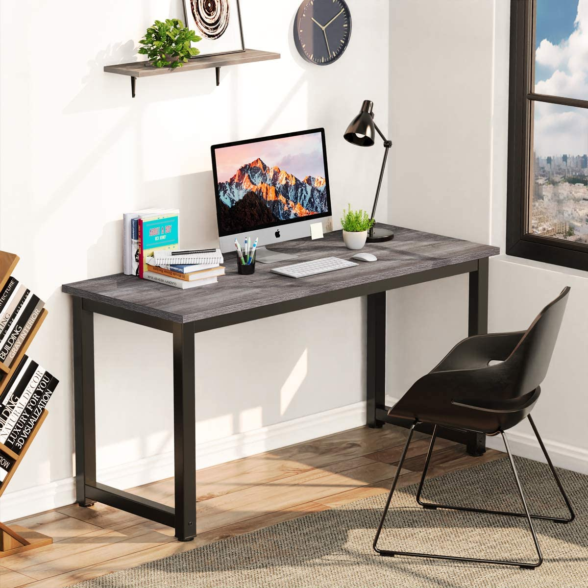 Corner Computer Desk, 47-inch Spacious Computer Table for Office Small Spaces Bedroom and Study (Grey)