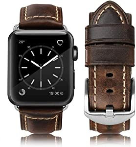 Compatible for Apple Watch Band 42mm 44mm 38mm 40mm Men,Top Grain Leather Band Replacement Strap iWatch Series 6/5/ 4/3/ 2/1,SE,Sport, Edition(Retro Coffee+Silver Buckle 42mm44mm)