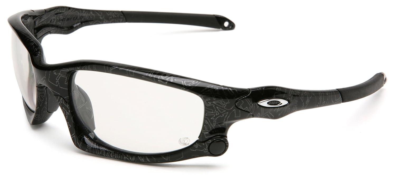 2cccbd7d1e7 Oakley Split Jacket Oo9099 Black   Silver Text Frame Clear-Black Iridium  Lens Plastic Sunglasses  Amazon.co.uk  Clothing