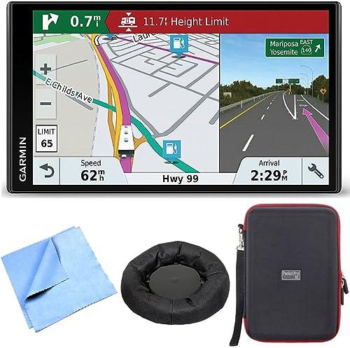 Garmin RV 770 NA LMT-S RV GPS Navigator for Camping w Dash Mount Case Bundle Includes Universal GPS Navigation Dash-Mount, PocketPro XL Hardshell Case and Cleaning Cloth