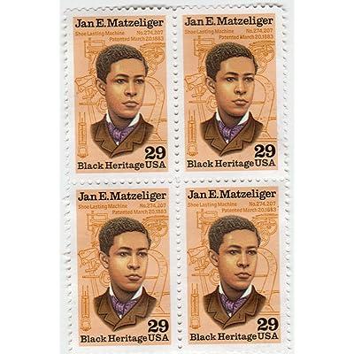 1991 JAN E MATZELIGER ~ BLACK HERITAGE ~ BLACK HISTORY #2567 Block of 4 x 29 cents US Postage Stamps: Toys & Games