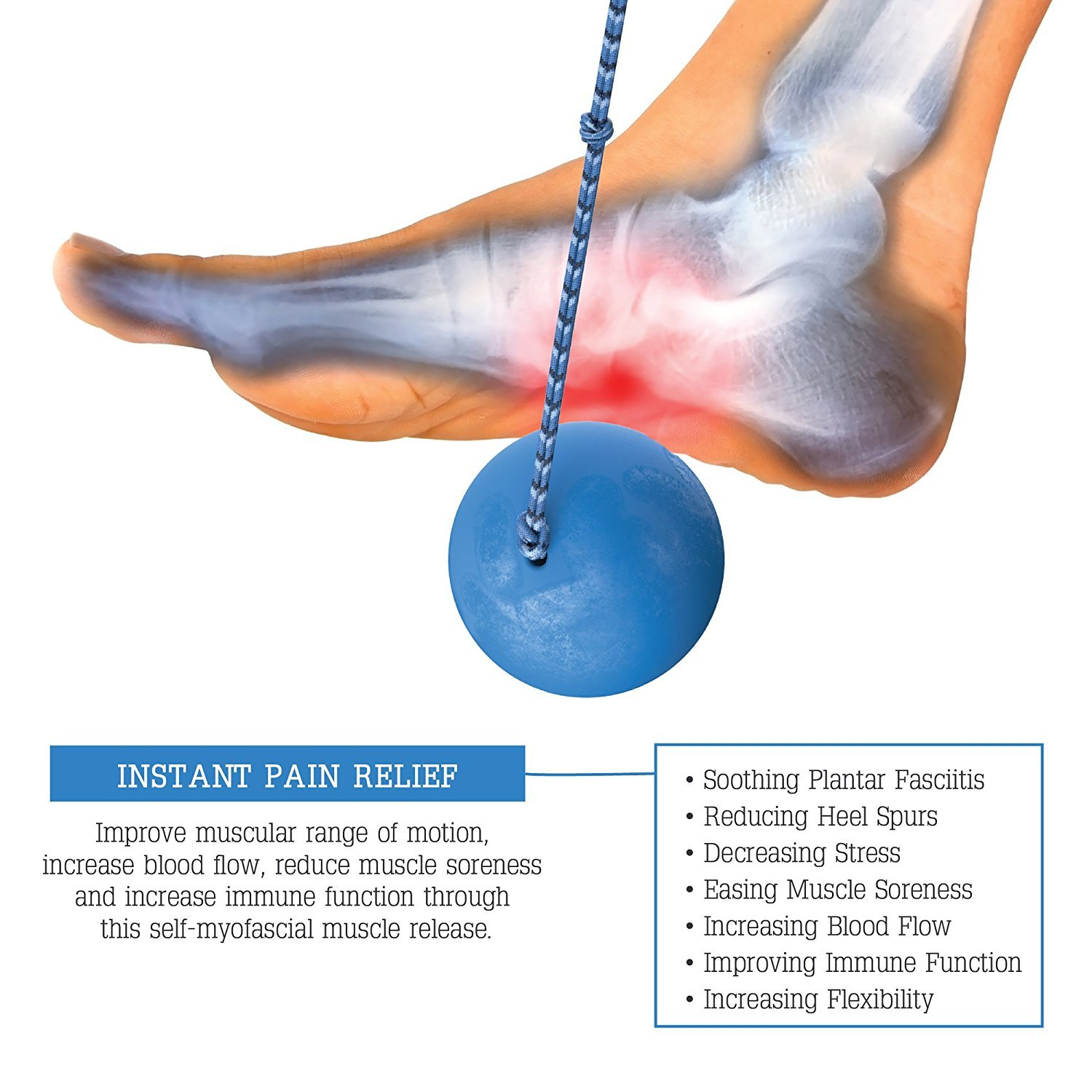 CombOhBall - Plantar Facitis Relief - The Ice Cold SnOh Ball + Original OhBall Foot Massage Ball Combo With Paracord Handles - Fastest Long-term Foot Pain Relief Guaranteed - Targets Plantar Fasciitis by The Oh Ball (Image #3)