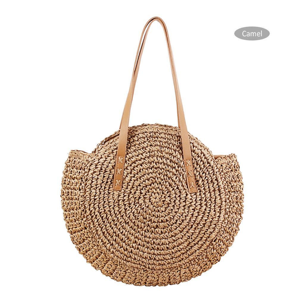 Yunhigh Round Woven Bag,Hand Woven Straw Bag with Leather Handle Braided Women Tote Bag Chic Retro Summer Beach Handbag Boho Style