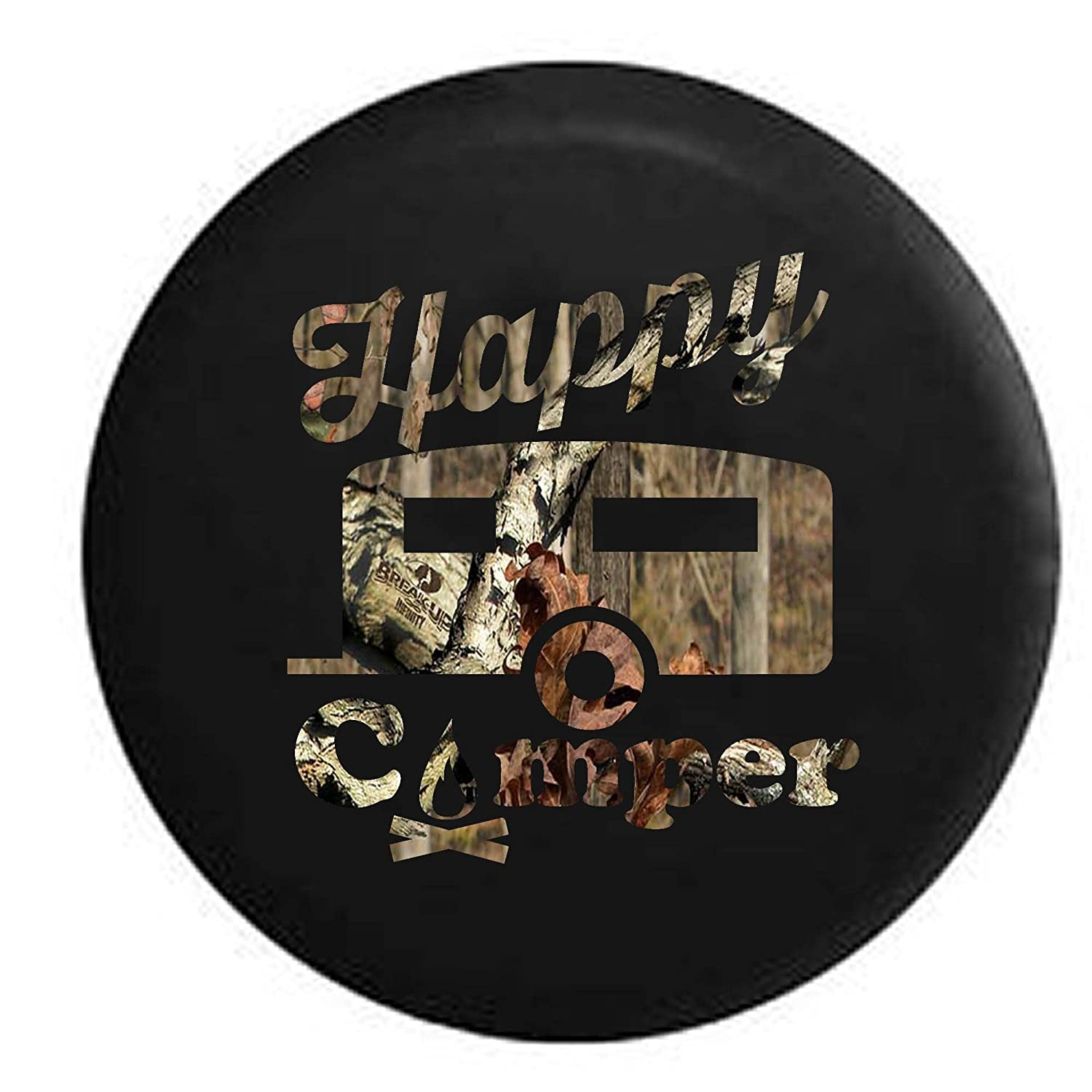 Pike Happy Camper Camp Fire RV Trailer Spare Tire Cover OEM Vinyl Black 27.5 in Pike Outdoors