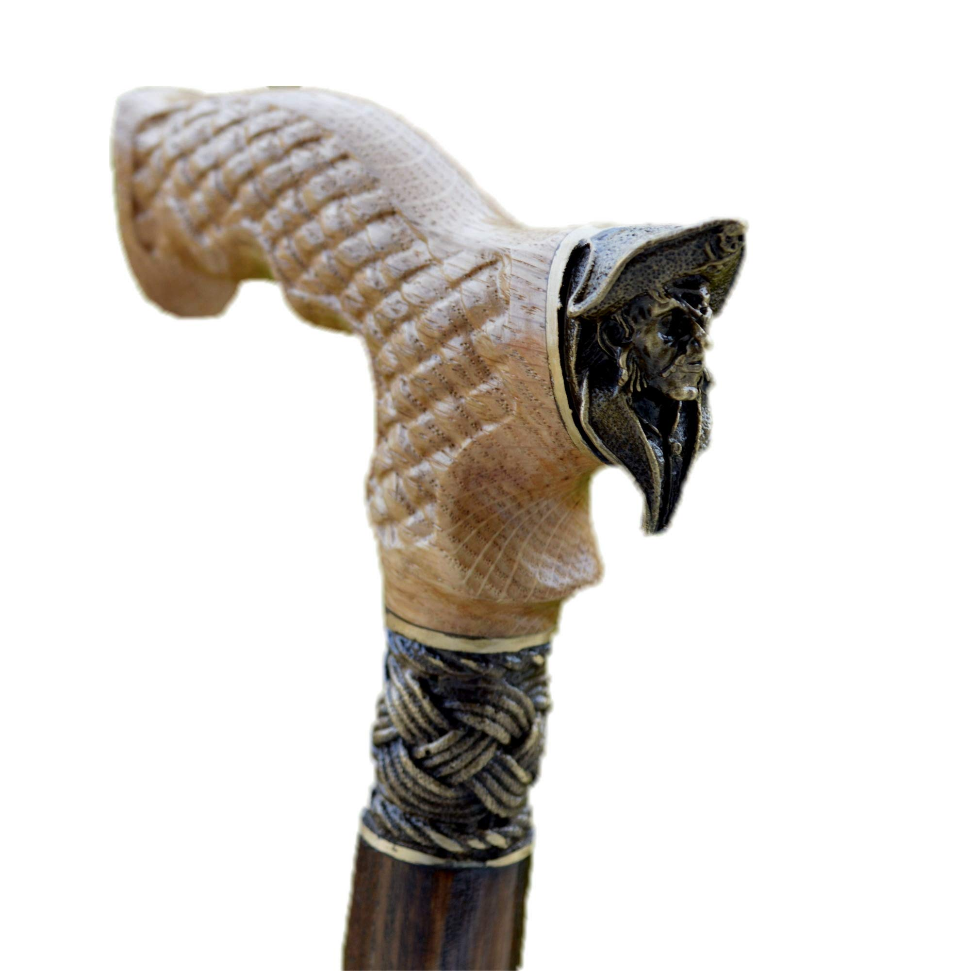 oleksandr.victory Canes Walking Sticks Wood Reeds Bronze Wooden BURL Handmade Cane Stick Men's Accessories (Bear) (Pirate)