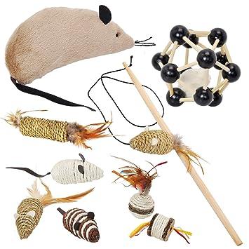 Juego de 9 juguetes para gatos: sisal, ratón, rodillo, plumas, caña de pesca: Amazon.es: Jardín