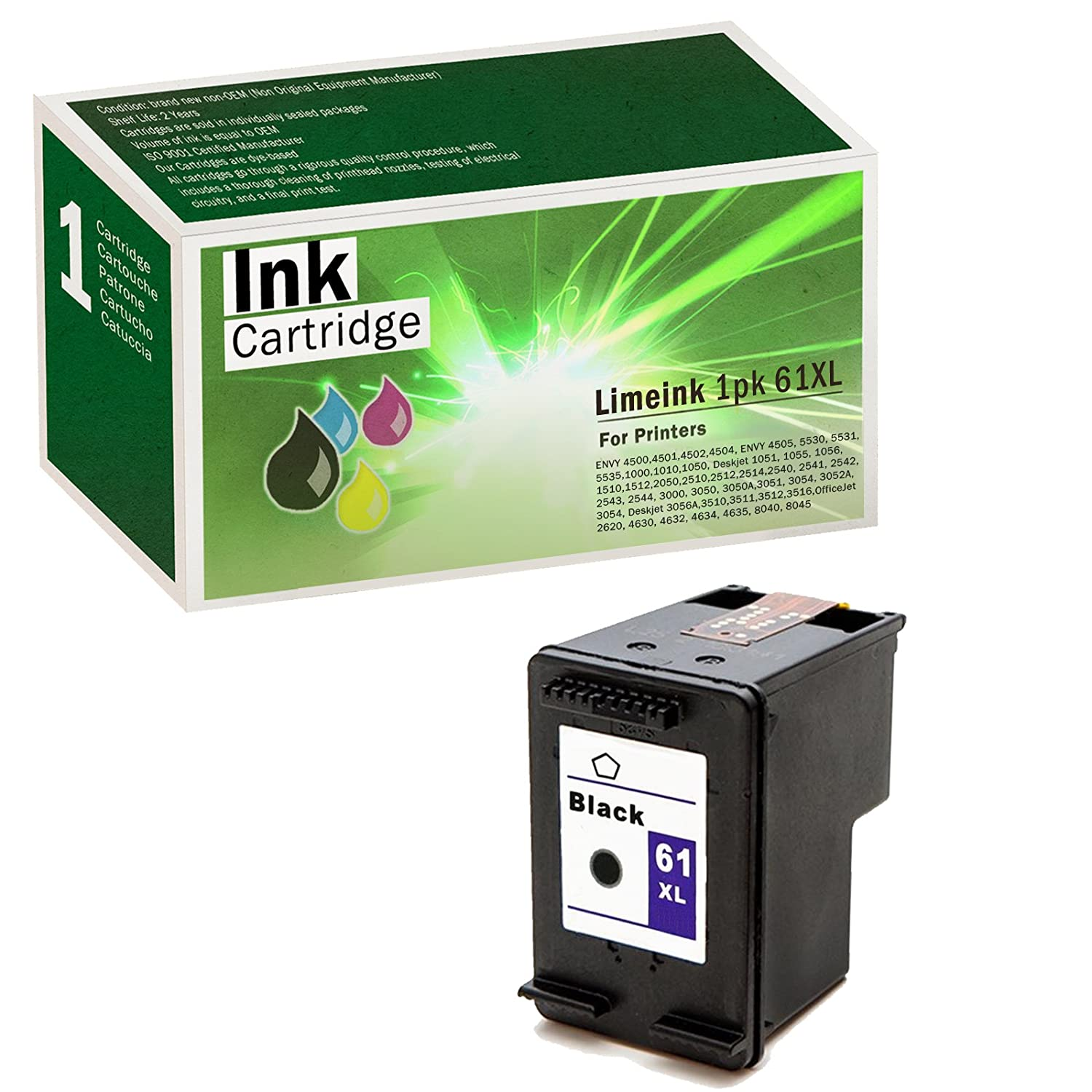 Limeink Remanufactured Ink Cartridge Replacement 61XL High Yield for 1000 1010 1050 1055 1510 1512 2000 2050 2510 2512 2514 2540 2542 2543 2549 3000 3050 ...
