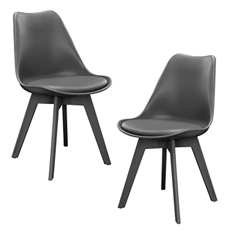 [en.casa]®] Set de 2 sillas de Comedor (Gris) Set para Comedor/salón/Juego  de sillas para Cocina%0a