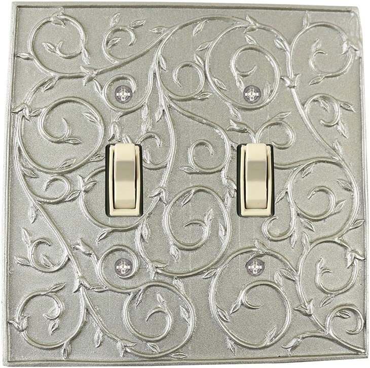 Meriville French Scroll 2 Toggle Wallplate, Double Switch Electrical Cover Plate, Pewter
