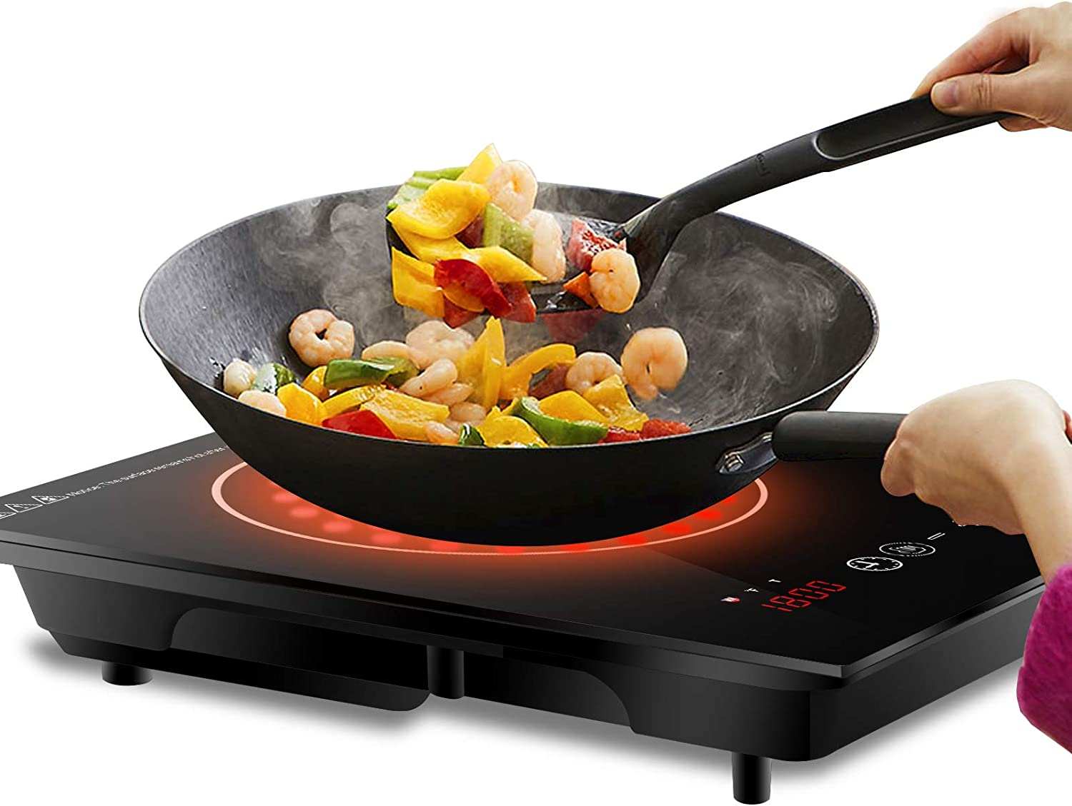 SUPER DEAL Pro Induction Cooktop, 1800W Induction Cooker w Wide Cookware Compatibility Induction Touch-Control Countertop Burner with Adjustable 8 Power Temperature Settings