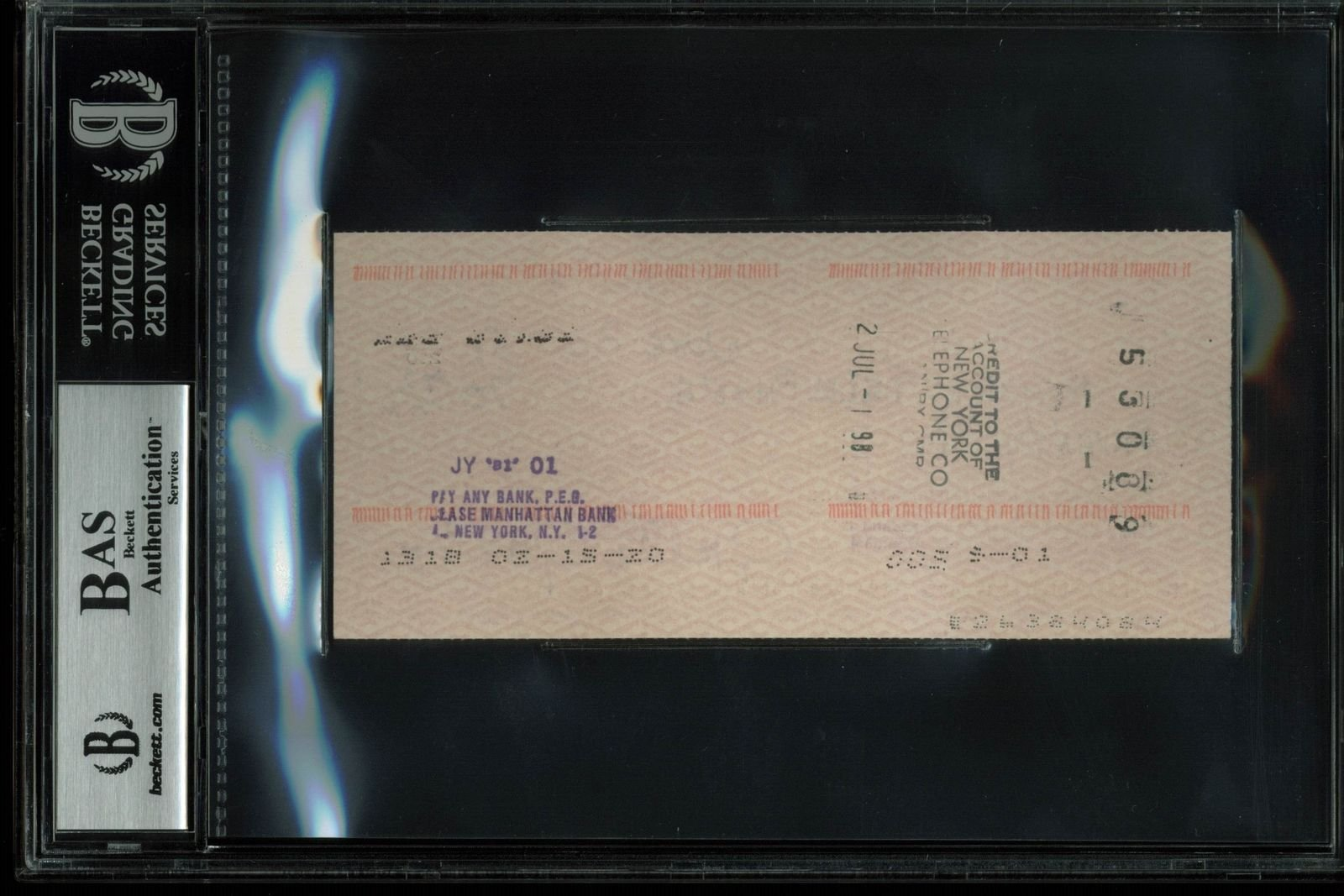 Greta Garbo Certified Signed Autographed Personal Check Dated June 30, 1981 Bas Slabbed Certified Certified
