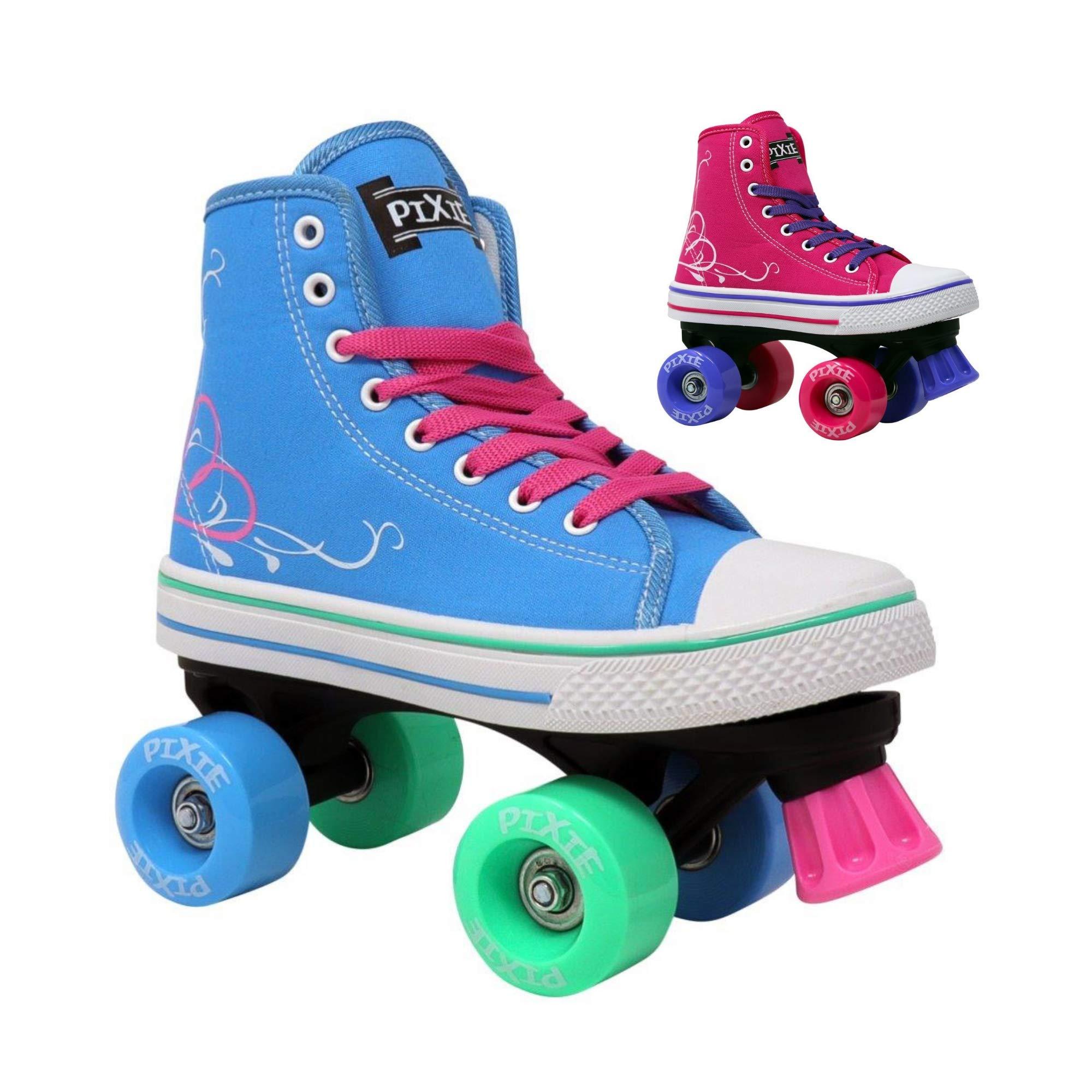 Lenexa Roller Skates for Girls Pixie Kid's Quad Roller Skates with High Top Shoe Style for Indoor/Outdoor Skating | Durable, Easy to Skate, Made for Kids (Blue, 2)