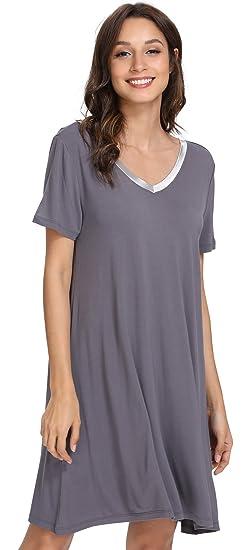 GYS Women s Short Sleeve Nightshirt V Neck Bamboo Nightgown  Amazon ... 6a198134c