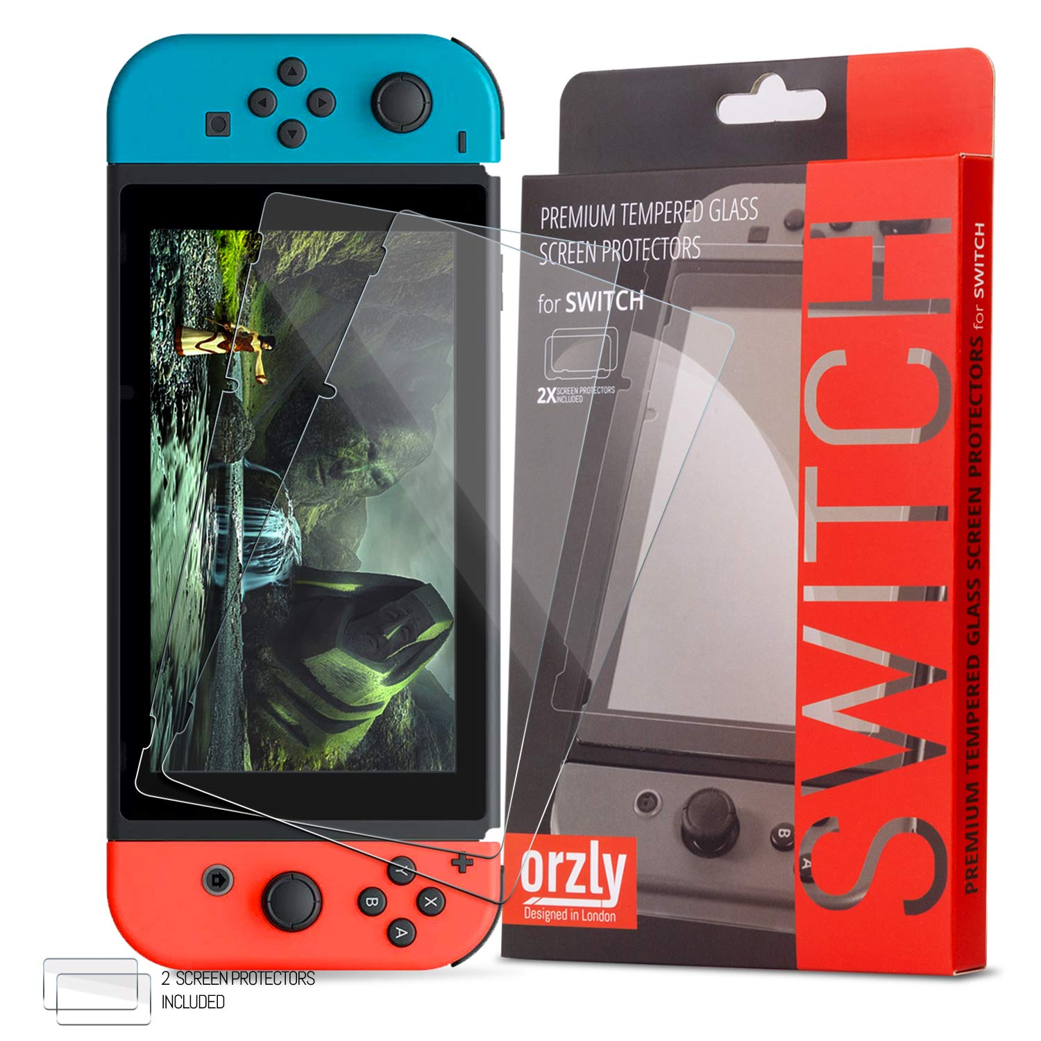 Orzly Glass Screen Protectors compatible with Nintendo Switch - Premium Tempered Glass Screen Protector TWIN PACK [2x Screen Guards - 0.24mm] for 6.2 Inch Tablet Screen on Nintendo Switch Console product image