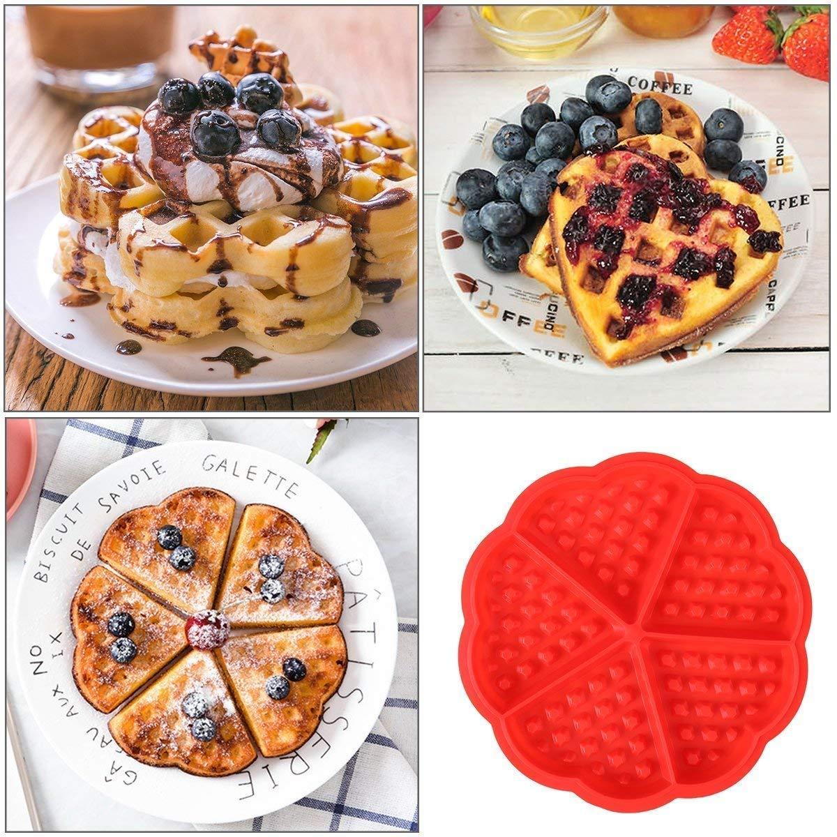 Moldes Waffle, Moldes Silicona, Molde en Forma de Corazón, Moldes para Donuts, Conveniente en Lavavajillas,Galletas para Tarta Muffin Cocina Herramientas: ...