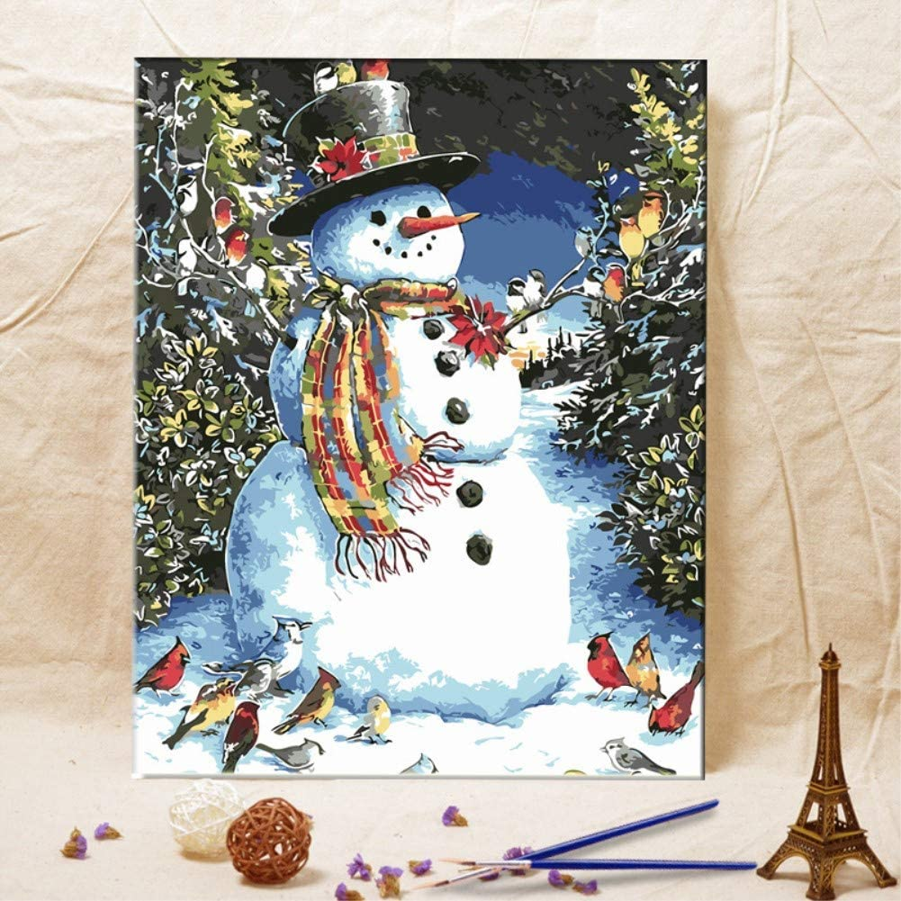 KXCFCYS DIY Oil Painting by Numbers Kit Theme PBN Kit for Adults Girls Kids White Christmas Decor Decorations Gifts Without Frame, XRS537