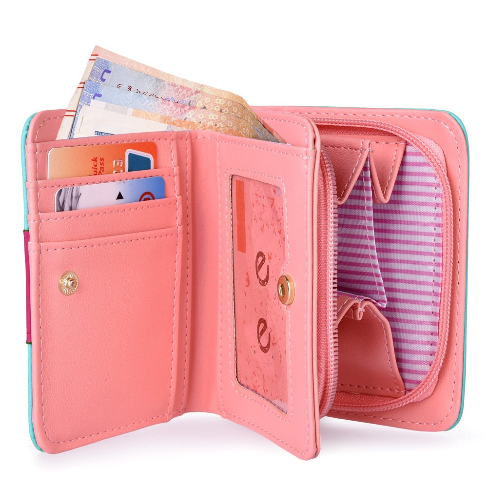 Vbiger Geldbörse Mädchen Kleine Geldbeutel Portemonnaie Damen Niedliche Katzen Muster Geldbörse für Kinder Wasser grün