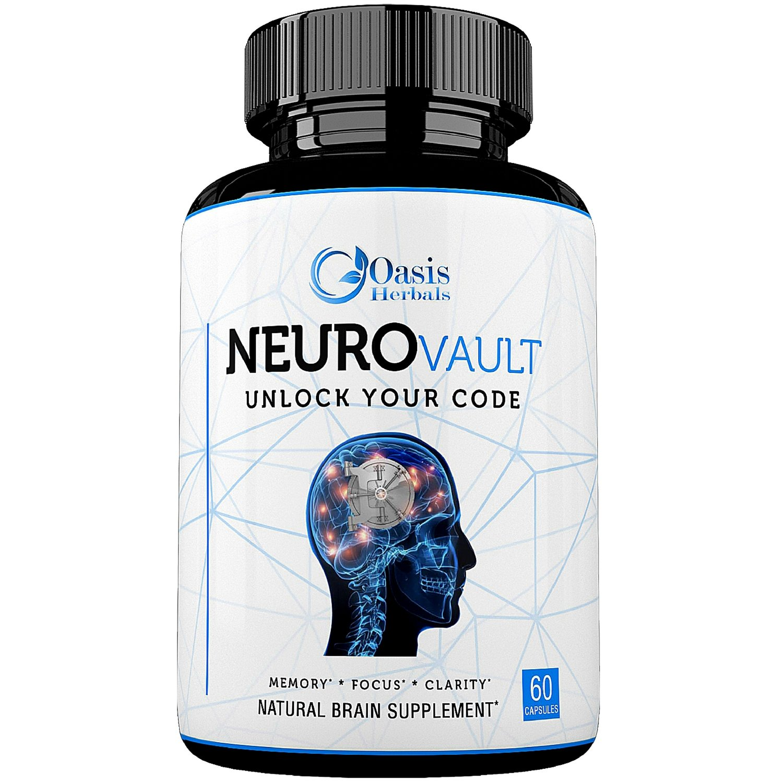 Nootropics | Brain Support Supplement | Focus Supplement | Enhance Mind IQ | Cerebral X Natural Brain Boost by Oasis Herbals | NeuroVault Memory, Focus, Clarity, Mental Alertness 60 Veggie Capsules
