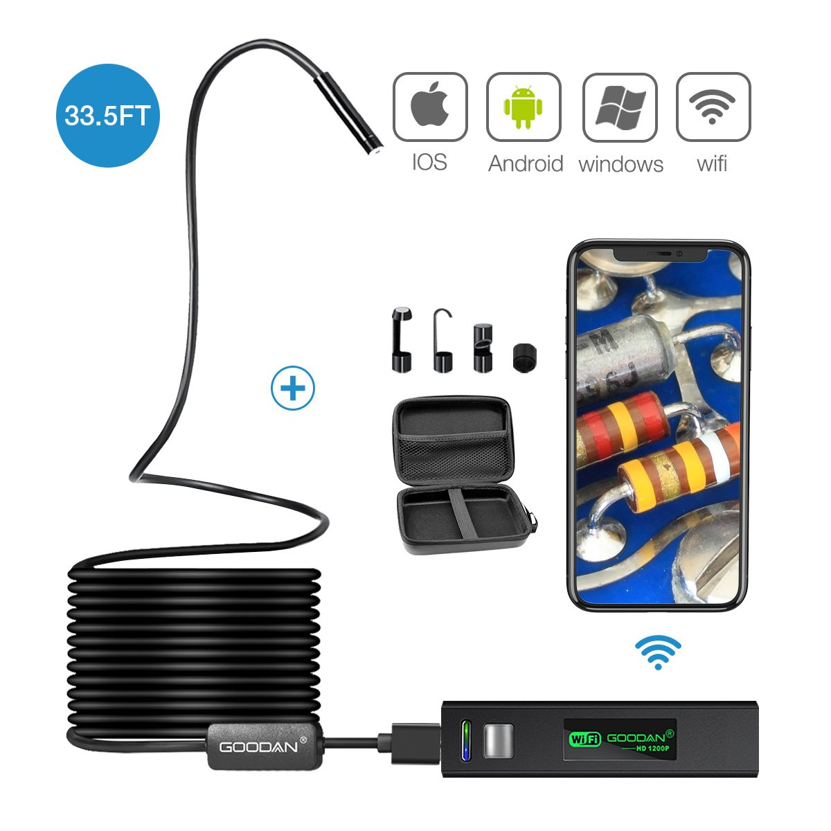 33.5FT Wireless Inspection Camera, GOODAN Updated 1200P HD Wifi Endoscope borescope with 2.0 Megapixels Snake Camera for Iphone Android Smartphone, Table, Ipad, PC (10M WIFI ENDOSCOPE)