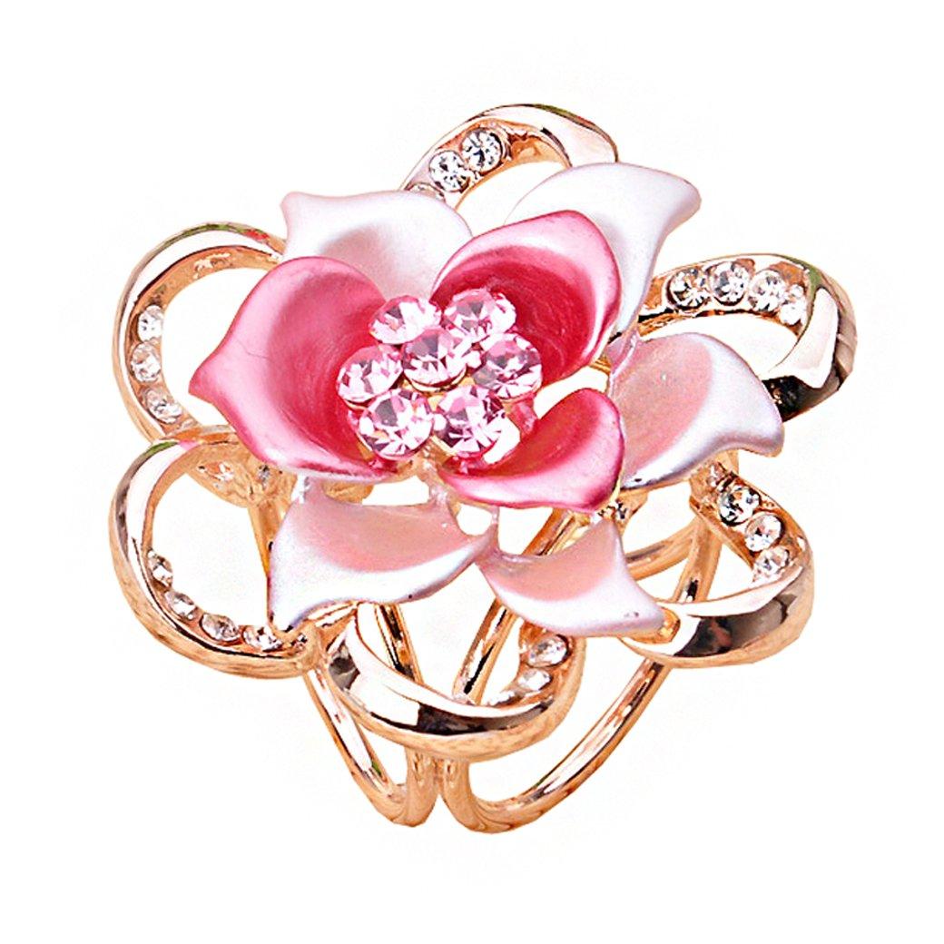 Lujuny Flower Scarf Clip Ring - Fashion Triple-Ring Floral Stewardess Shawl Wrap Neckerchief Slides Buckle for Women Girls (Pink Rose)