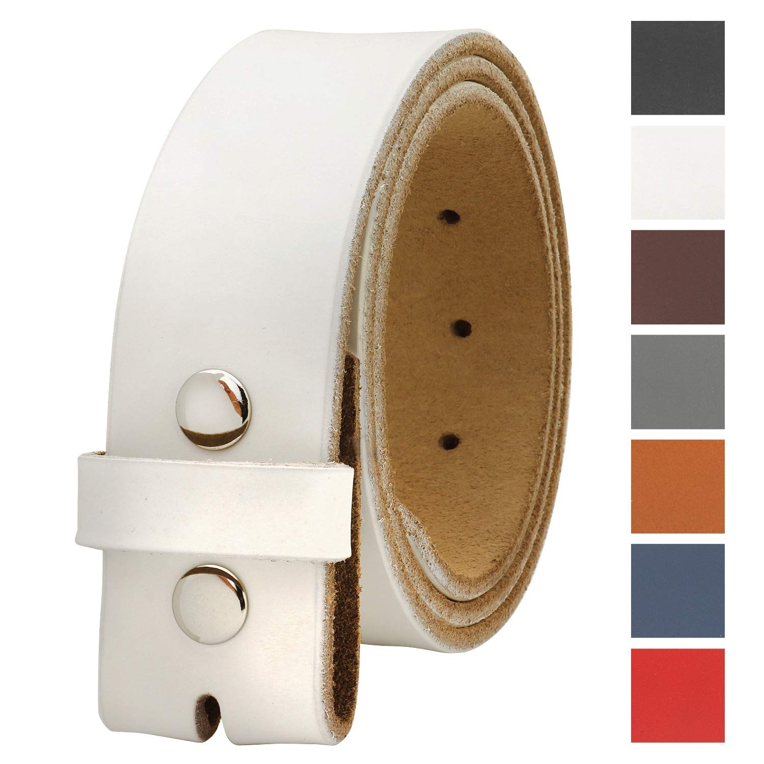 Falari Replacement Genuine Leather Belt Strap Without Buckle Snap on Strap 1.5'' Wide 8005-WHITE-38