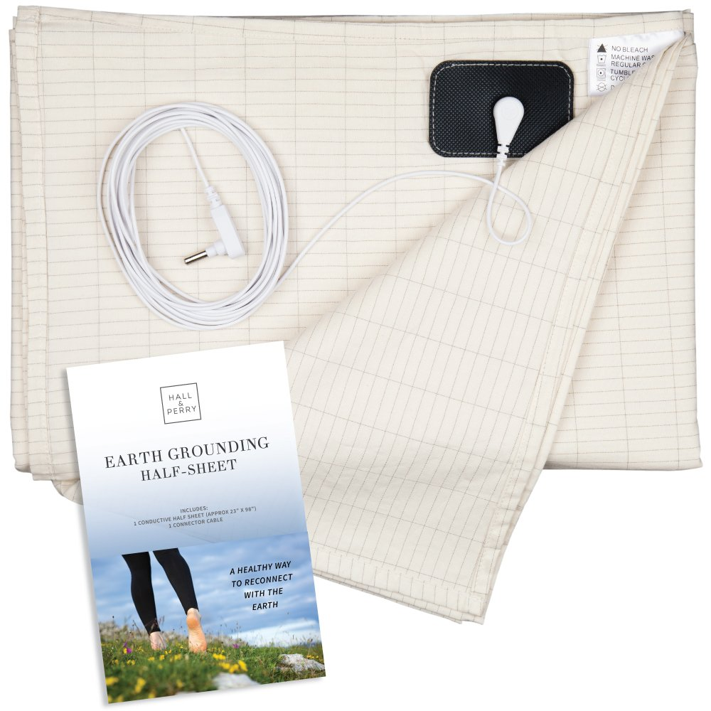 HALL & PERRY Earthing Half Sheet with Grounding Connection Cord | Pure Silver Antimicrobial Fiber for Better Sleep, Natural Wellness, Healthy Earth Energy and EMF Recovery, Natural 35'' x 90''