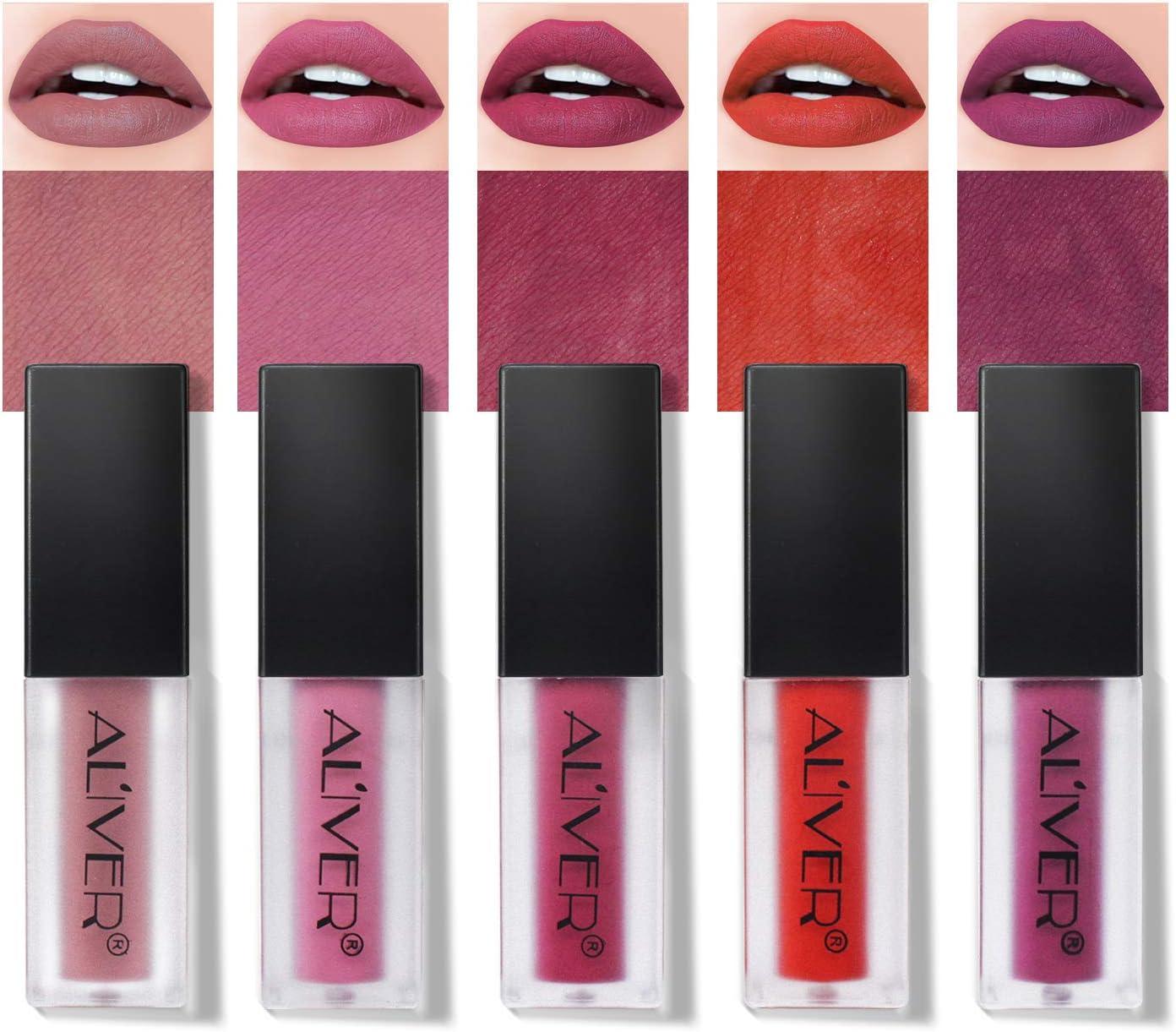 Conjunto de lápiz labial mate, 5 colores impermeable de larga duración Non-stick taza lápiz labial líquido Kissproof Lipgloss set
