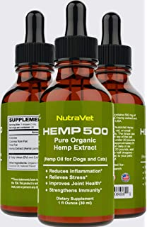 Amazon com: Hemp Oil for Dogs and Cats - Organic - Relieves