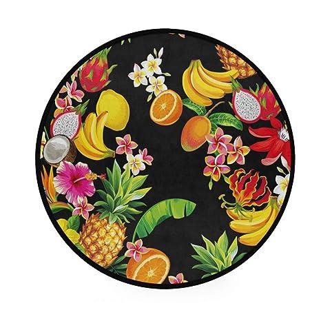 Alfombra redonda de piña de fruta y limón, antideslizante ...