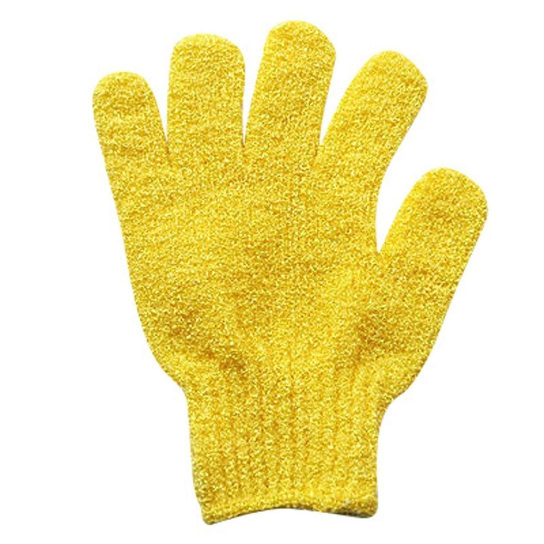 LiPing 2Pair Bath Scrub Mitt Gloves Massage Scrubber Shower Wash Skin Brush Face Cleansing Brush, For Sensitive, Delicate, Dry Skin. (Yellow)
