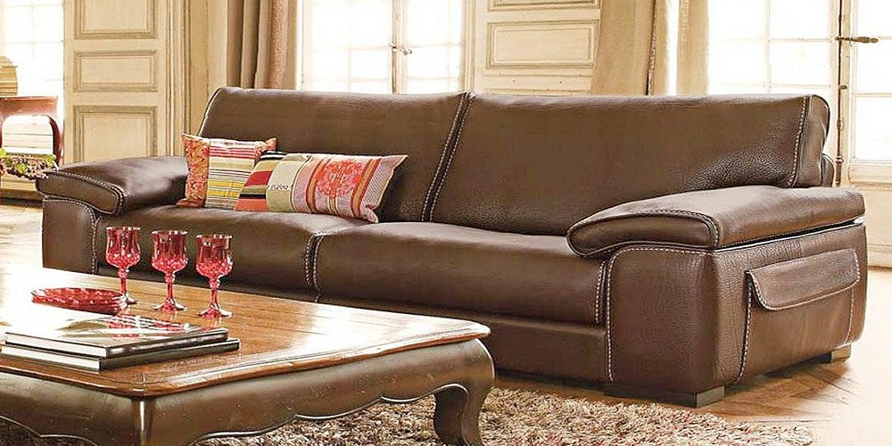 Calia Maddalena – Monte Carlo Sofa, Old Style Savage Leather Olive, Armchair - 125cm