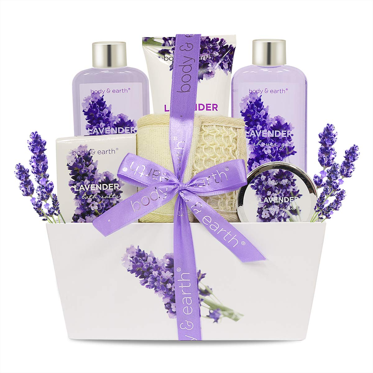 Bath Spa Gift Set, Body & Earth Gift Basket 6-Piece Lavender Scented Spa Basket Kits for Women, Contains Shower Gel, Bubble Bath, Body Lotion, Bath Salt, Body Scrub, Back Scrubber, Best Gift for Her by BODY & EARTH