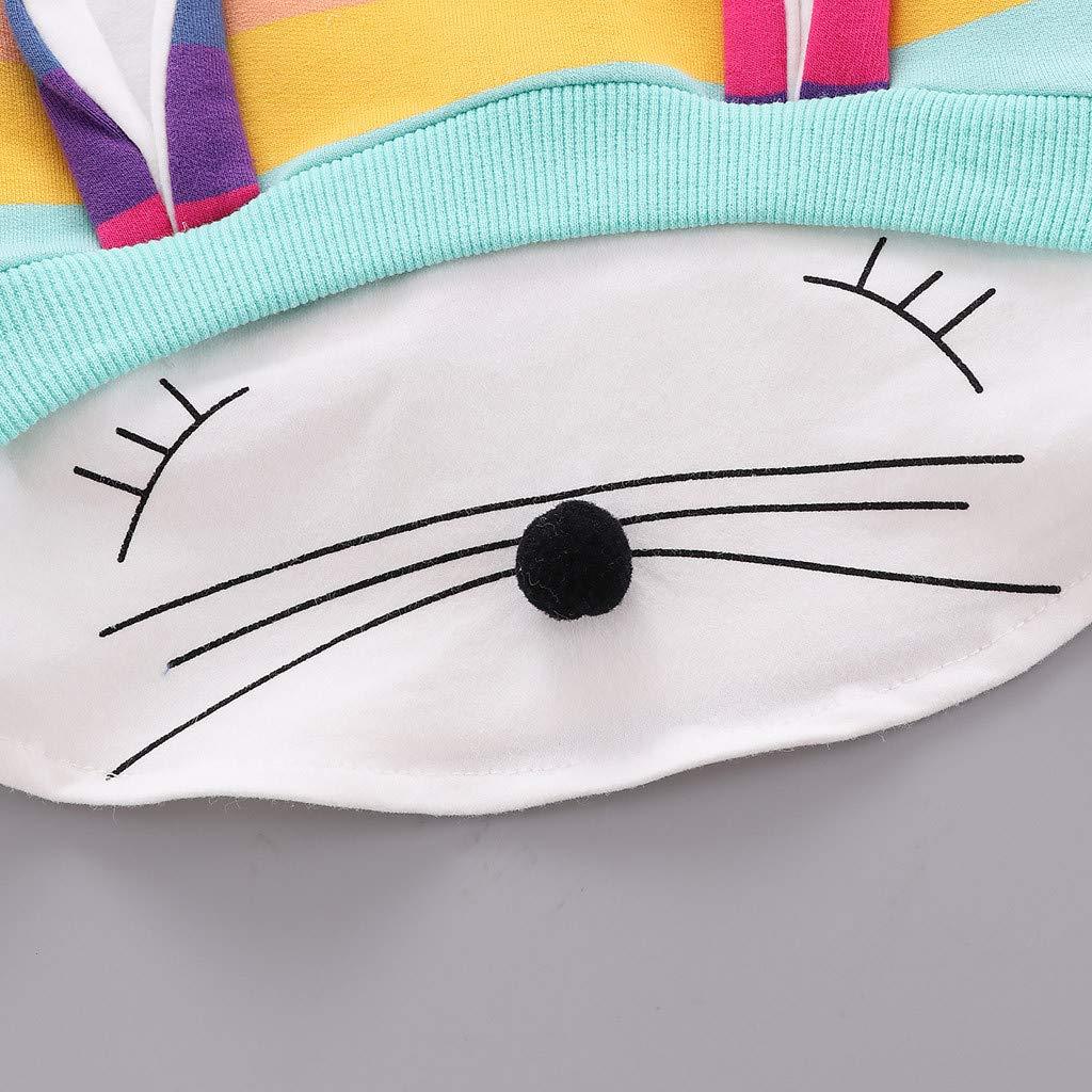 Junge M/ädchen Pullover Lange /Ärmel Cartoon Cute Sweatshirt Regenbogen Gestreiftes Gedruckte T-Shirt Mit Kapuze 0-36 Monate Amcool-baby Kleidung