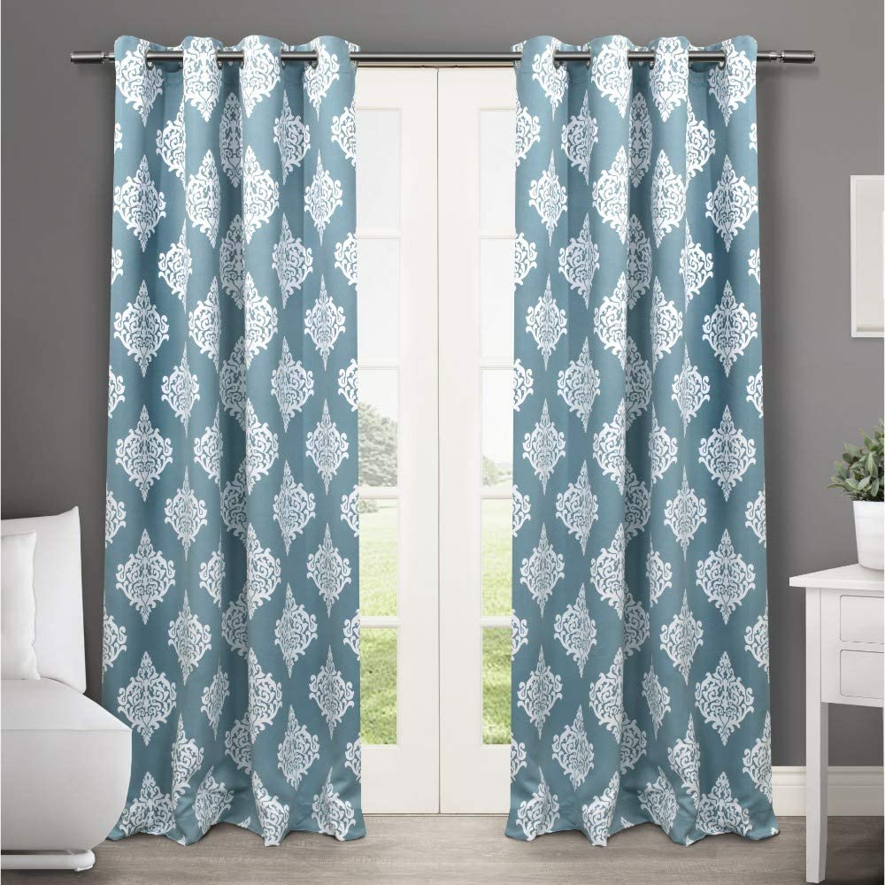 Exclusive Home Curtains Medallion Blackout Grommet Top Curtain Panel Pair, 52x84, Teal, 2 Count,EH7945-02 2-84G