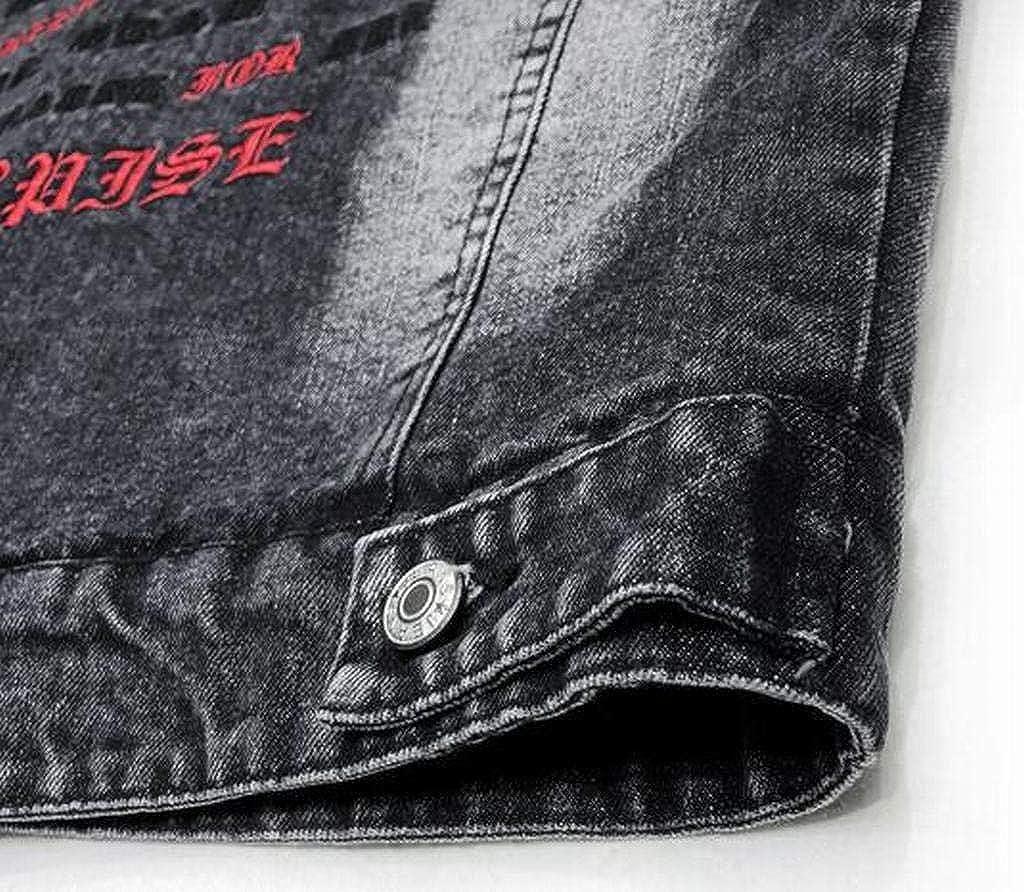 WAWAYA Mens Winter Faux Fur Lined Letter Print Denim Quilted Jacket Parka Coat Outerwear