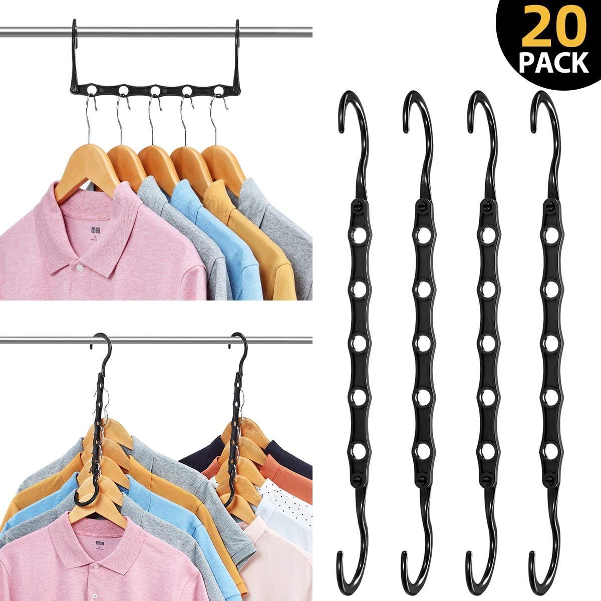AMKUFO 20 Pack Magic Hangers Space Saving Hangers Closet Space Saver Hanger Organizer Multi Hangers Sturdy Plastic for Heavy Clothes