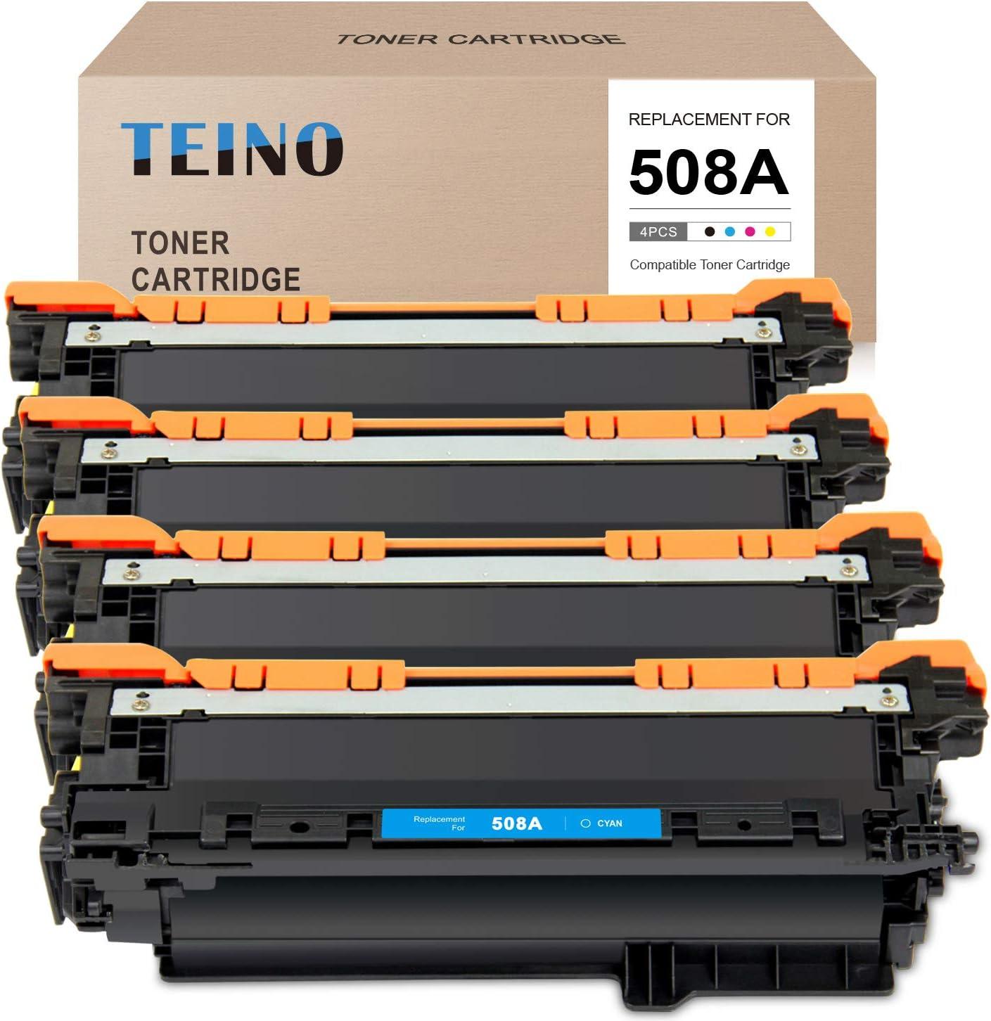 TEINO Compatible Toner Cartridge Replacement for HP 508A CF360A CF361A CF362A CF363A use with HP Color Laserjet Enterpris M552dn M553 M553n M553dn M553x M577dn (Black, Cyan, Magenta, Yellow, 4-Pack)