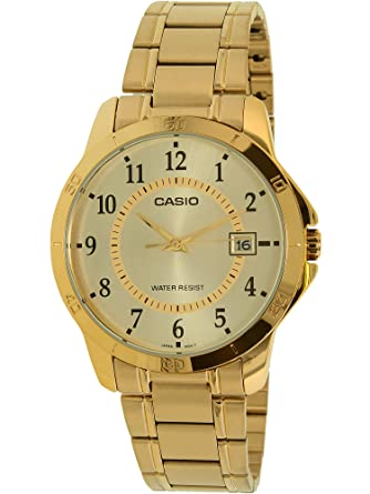 fa7310eb2 Amazon.com: Casio #MTP-V004G-9B Men's Standard Gold Tone Stainless Steel  Gold Dial Date Watch: Casio: Watches