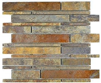 mosaico azulejos Pizarra piedra natural óxido Brick Pizarra ...