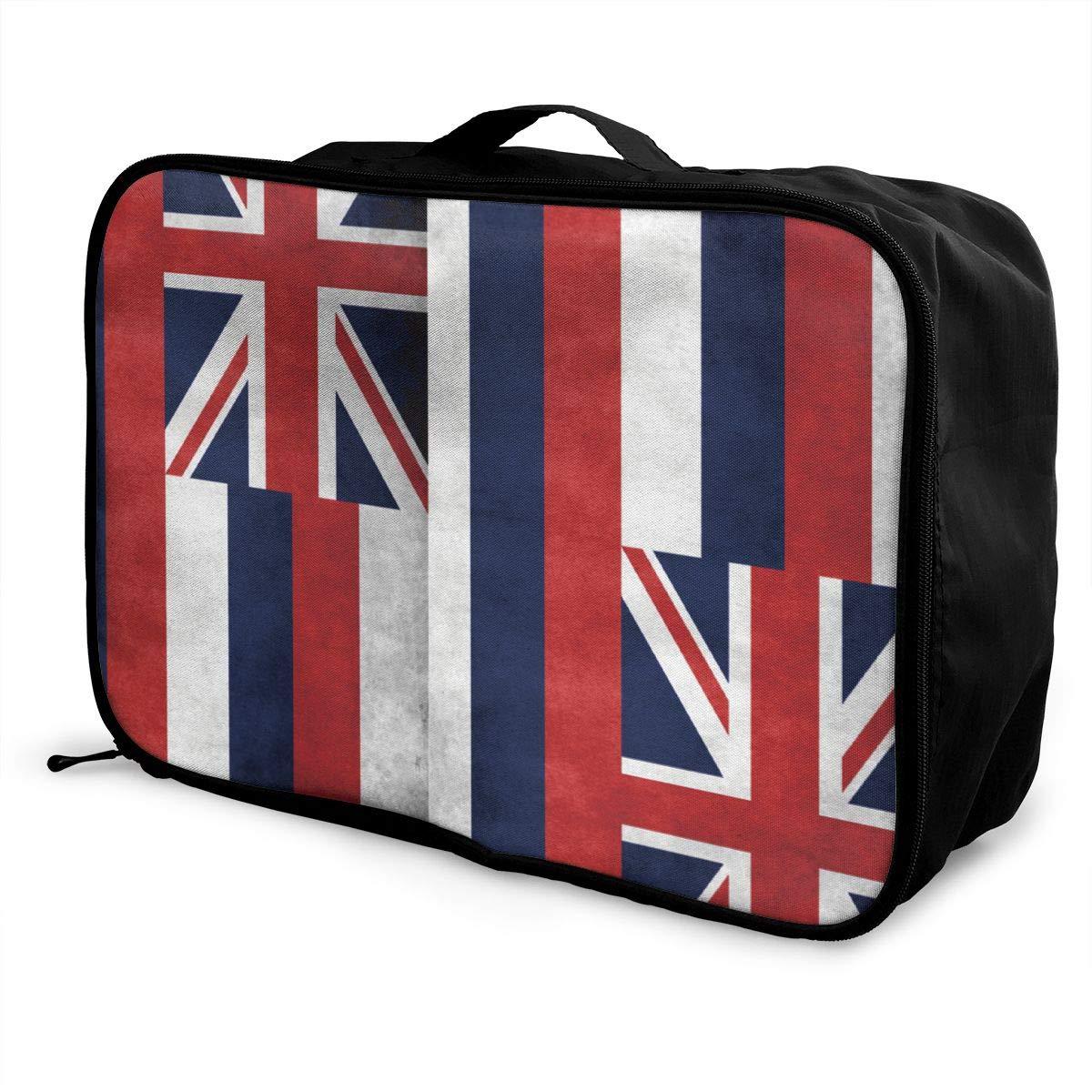 YueLJB Grunge Hawaii Flag Lightweight Large Capacity Portable Luggage Bag Travel Duffel Bag Storage Carry Luggage Duffle Tote Bag