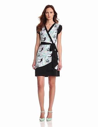 maxandcleo Women's Printed Faux Wrap Dress, Multi, X-Small