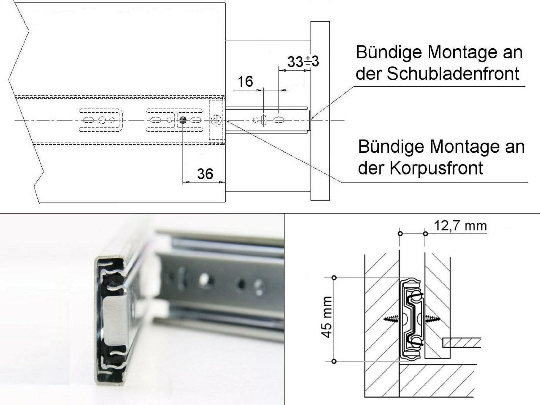 1 Stück SO-TECH® Vollauszug 500 mm mit 45 Kg Tragkraft Schubladenschiene Teleskopschiene SOTECH 50033