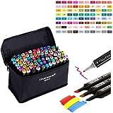 Togood - Juego de marcadores profesionales para pintar (80 unidades, doble punta, punta fina), diseño de dibujo, color 80 Colors-black Rod-standard Bag