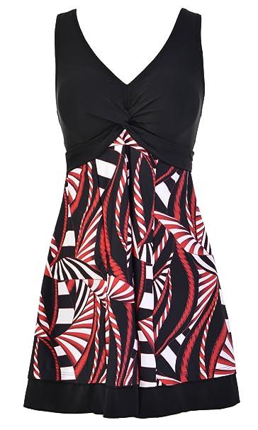 7c501c2da94 Ecupper Ladies One Piece Swimdress Plus Size Swimwear Printed Flowler Bathing  Suit Swim Dress with Skirts